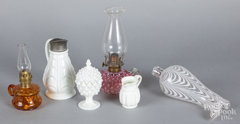Two glass fluid lamps