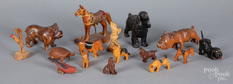 Group of carved animals, early/mid 20th c.