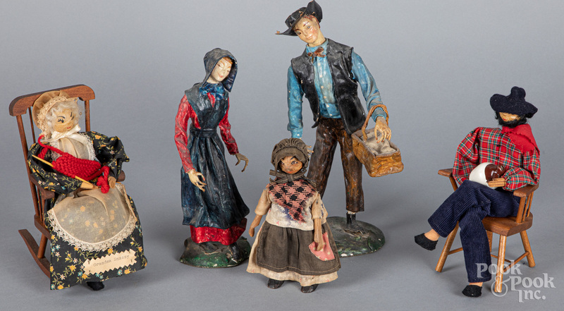 Wood and composition country figures