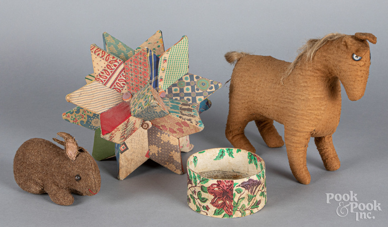 Fabric horse and mohair rabbit, early 20th c.