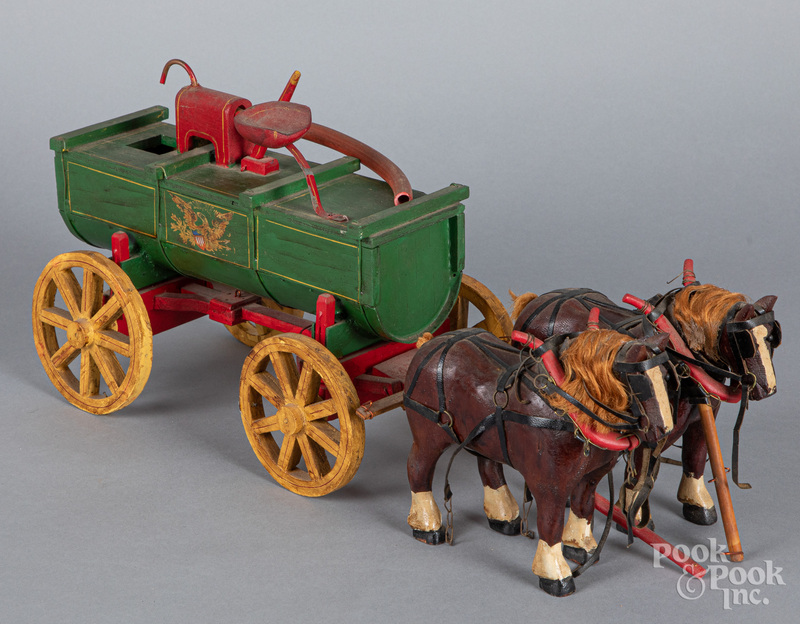 Painted wood horse drawn fire wagon, 20th c.