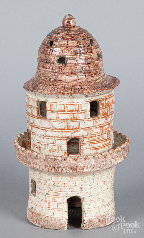 Redware lighthouse lamp