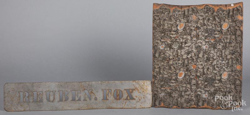 Tin bag stencil for Reuben Fox, ca. 1900