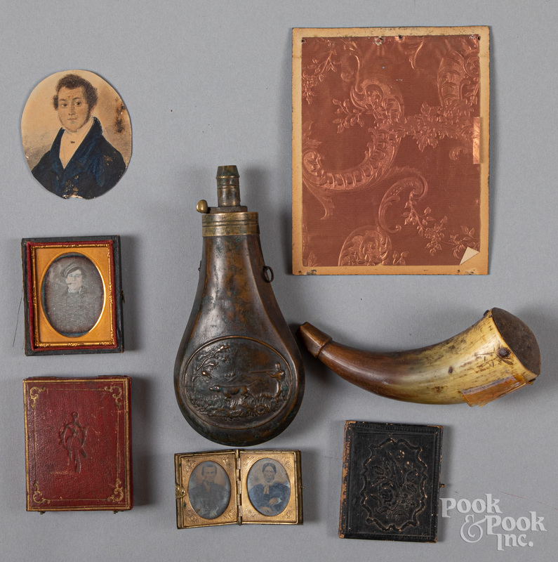 Powder horn and brass powder flask, 19th c.