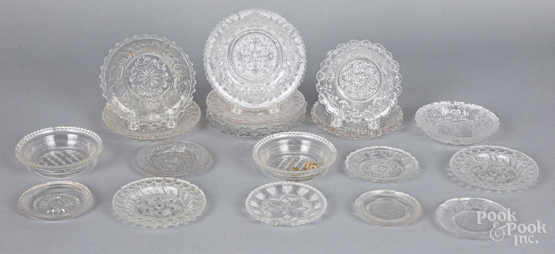 Lacy glass cup and toddy plates, small bowls, etc