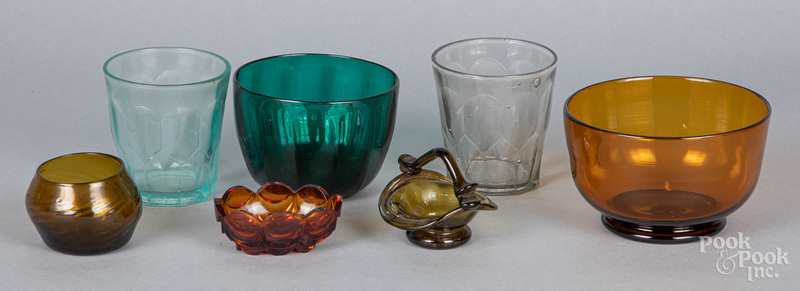 Seven pieces of colored glass