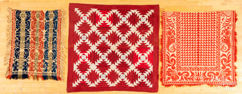 Youth quilt, together with two youth coverlets