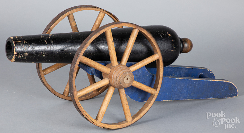 Painted wood toy canon, early 20th c.