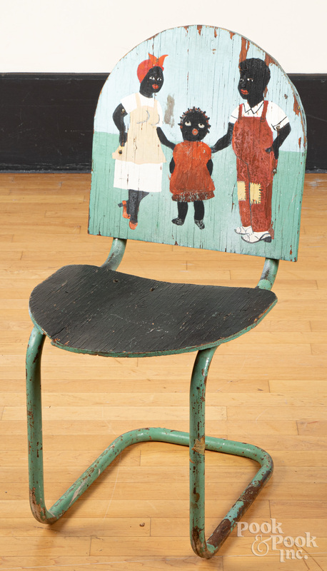 Folk Art Black Americana painted porch chair