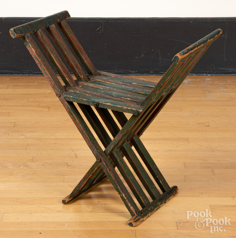 Primitive painted folding chair, early 20th c.