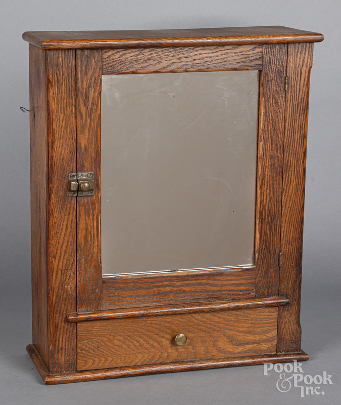 Mirrored oak hanging cabinet, ca. 1900