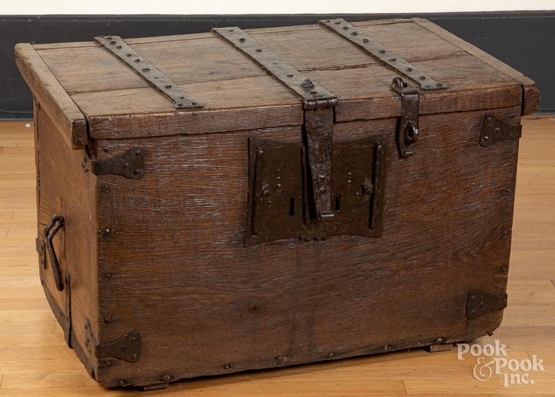 Continental oak lock box, 18th c.