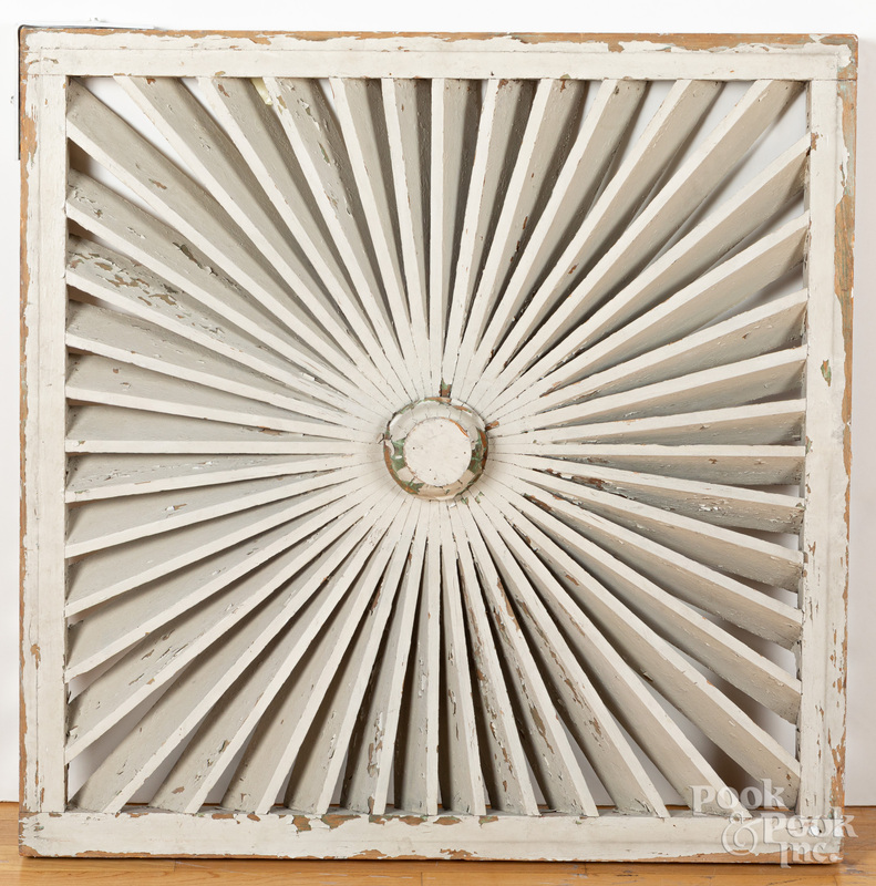 Pair of architectural painted louvered barn panel