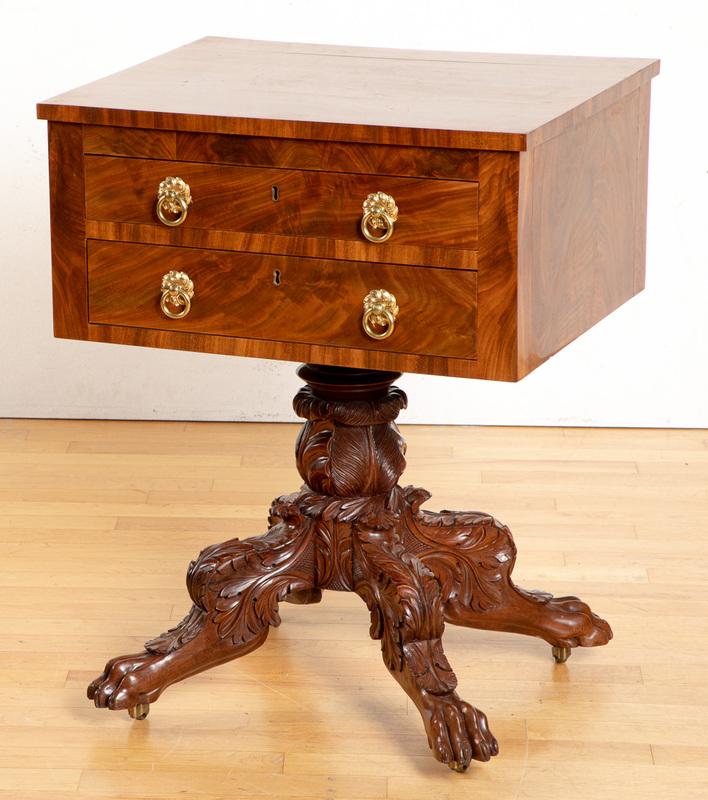Empire mahogany work table, ca. 1840