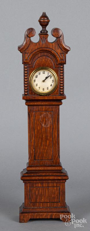 Miniature doll size oak tall case clock