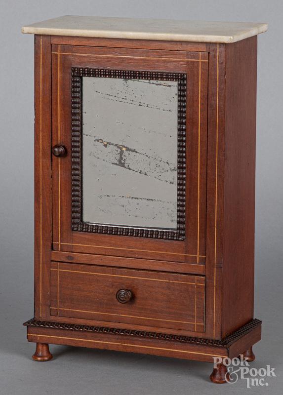 Doll size mahogany armoire, ca. 1900
