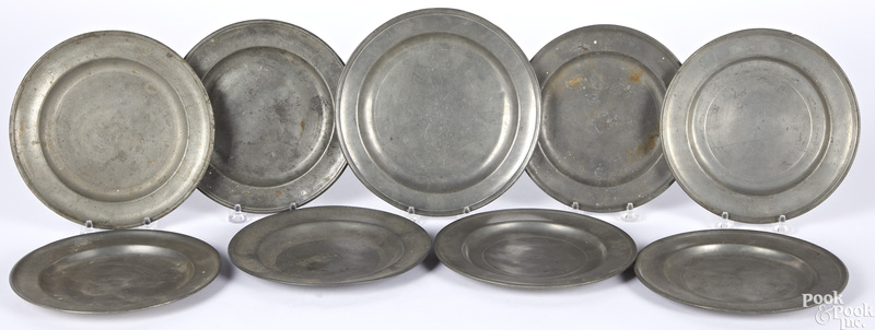 Nine American pewter plates
