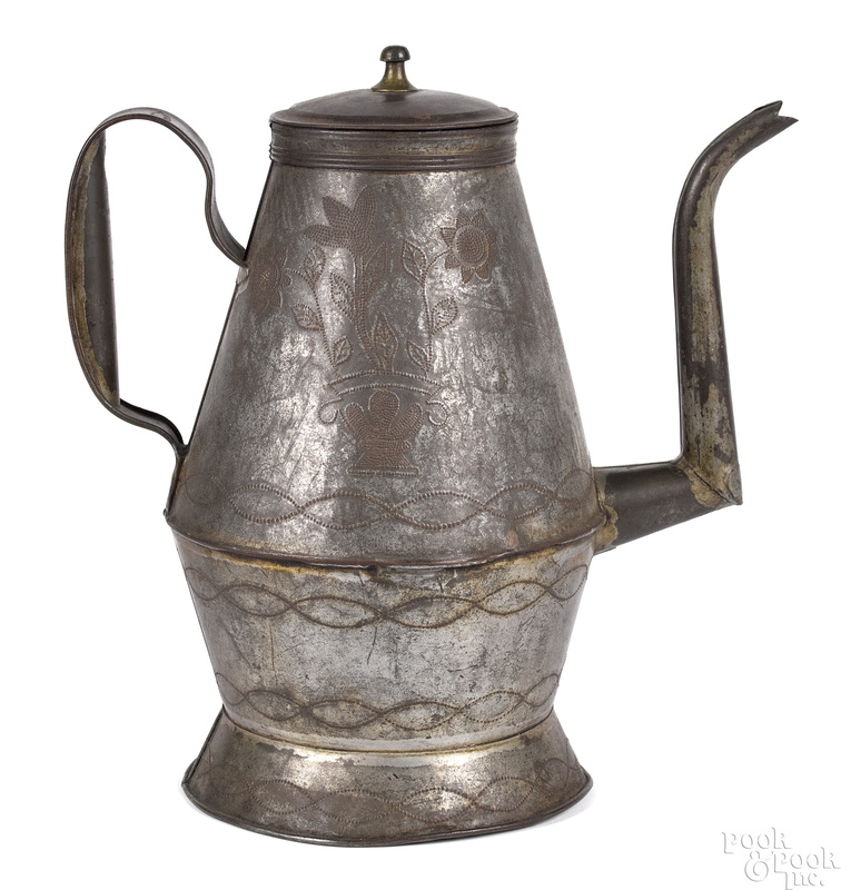 Pennsylvania wrigglework tin coffee pot