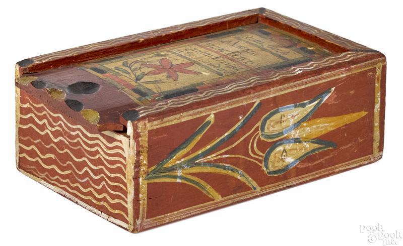 John Drissel painted pine slide lid box