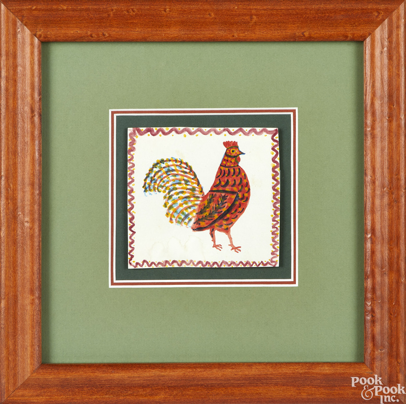 Mary Ann Light two watercolor fraktur drawings