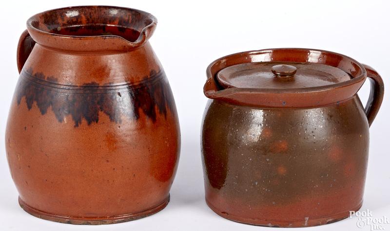 Redware bean pot