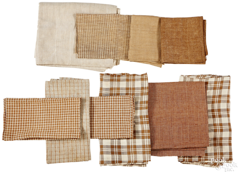 Group of brown and white early homespun
