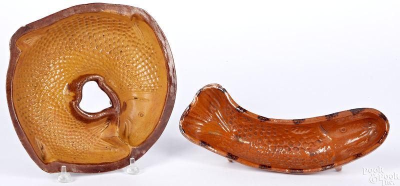 Two redware fish molds