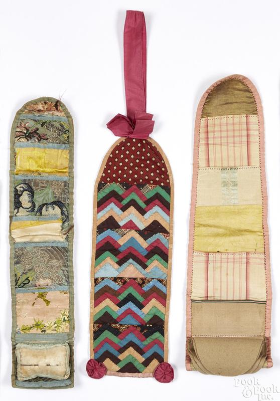 Three Pennsylvania pieced silk needle pockets