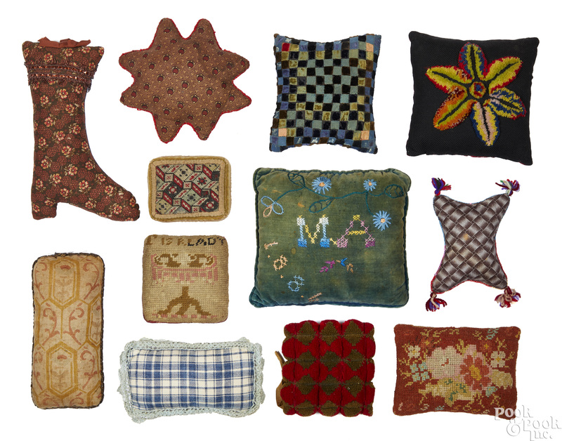 Collection of pincushions and small pillows