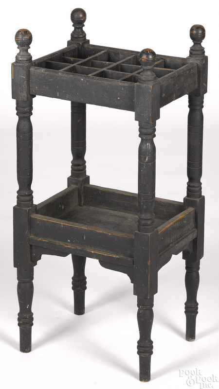 Painted pine cane or umbrella stand