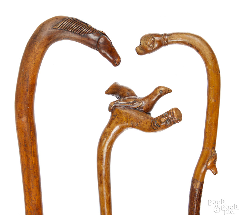Three carved canes