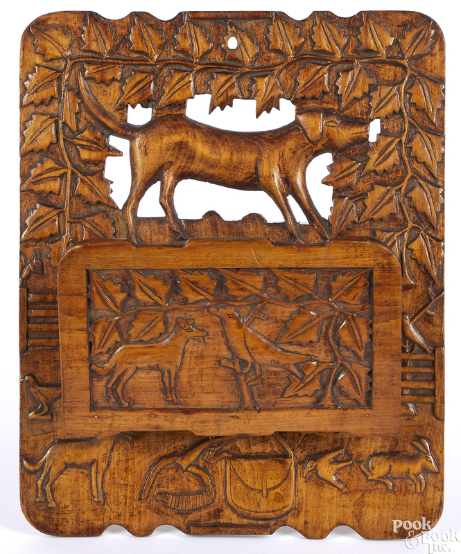Carved pine wall pocket