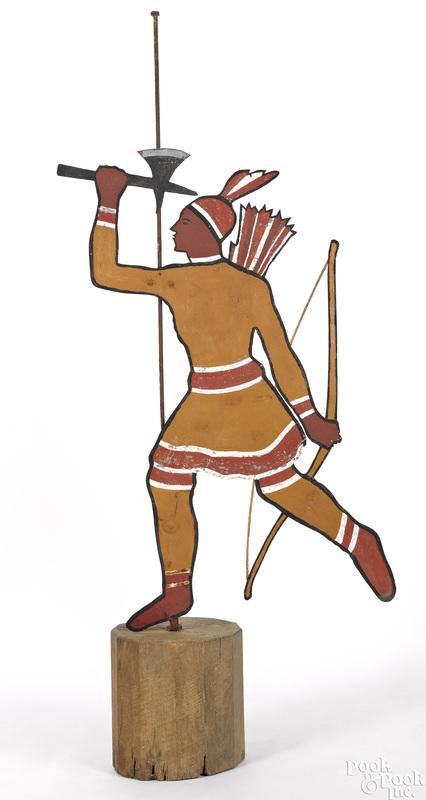 Painted zinc Native American weathervane