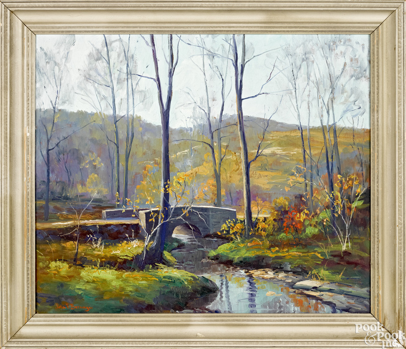 John E. Berninger oil on canvas river landscape