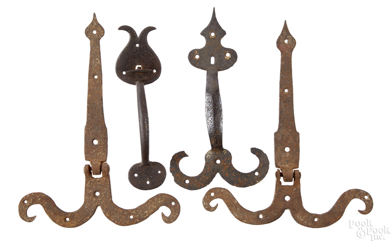 Two wrought iron thumb latches, etc.