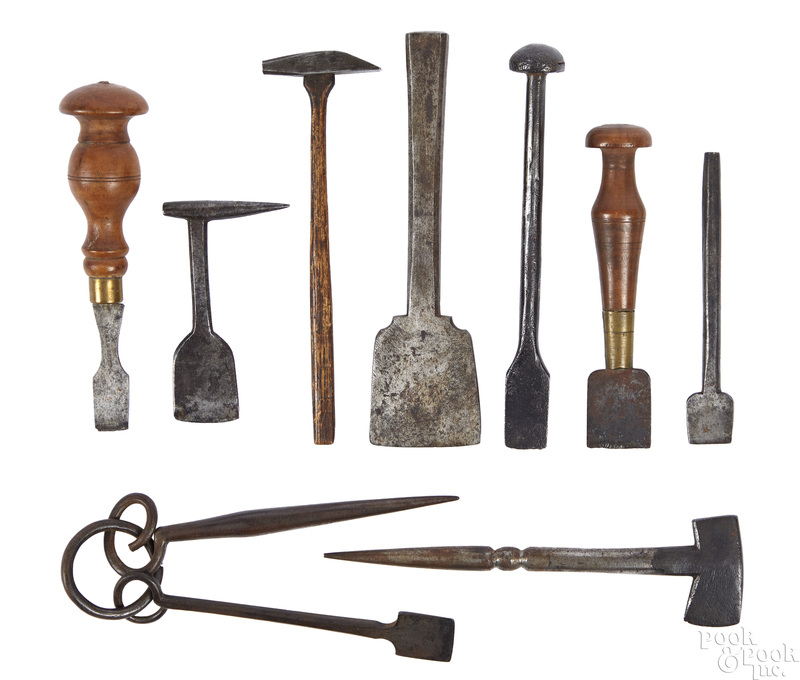 Wrought iron button hole cutters and hammers