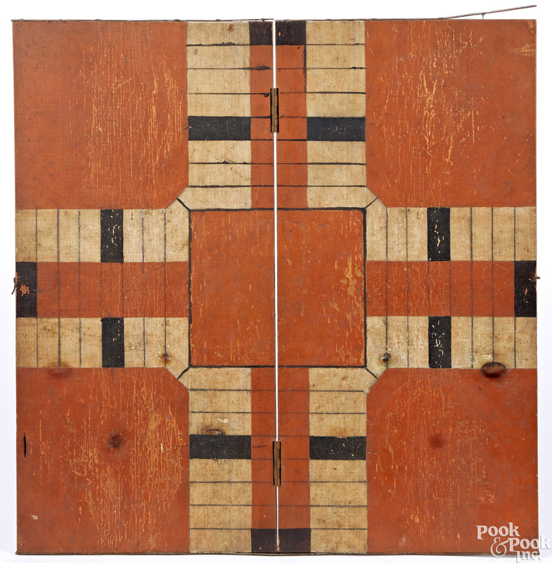 Painted pine folding parcheesi game board