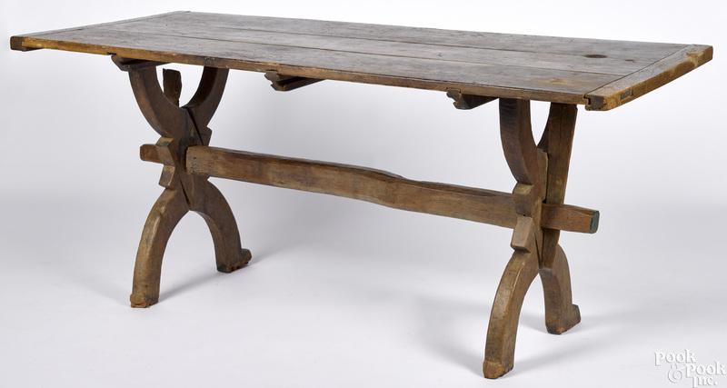 Hard pine and walnut trestle table