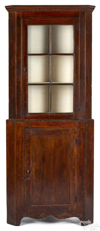 Diminutive Pennsylvania two-part corner cupboard