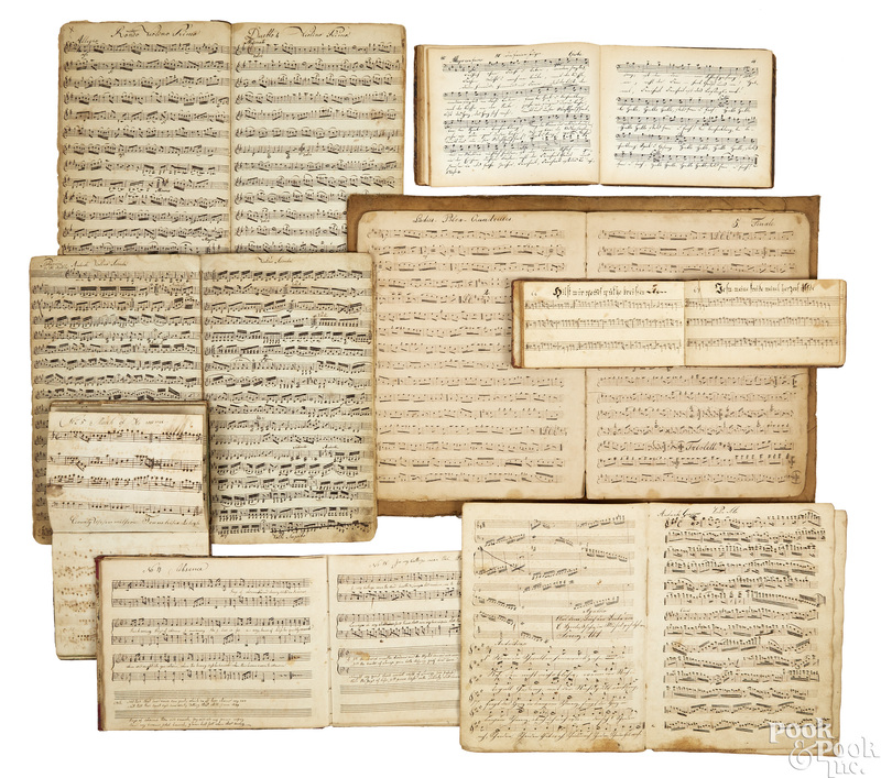 Eight hand written sheet music song books