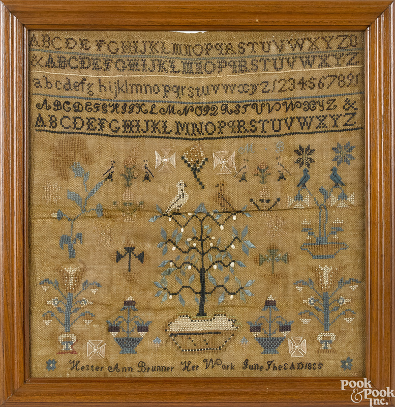Pennsylvania silk on linen sampler