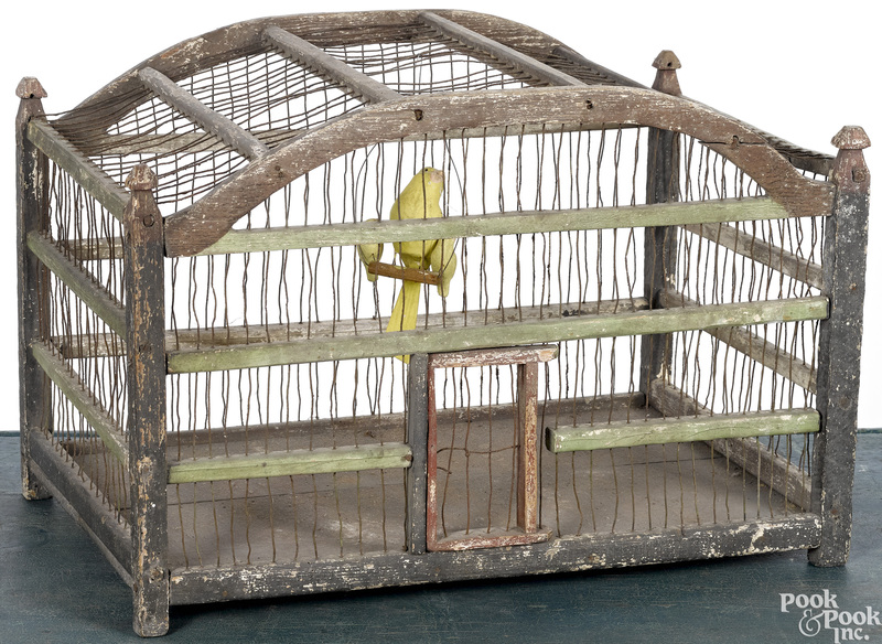 Painted wood and wire birdcage