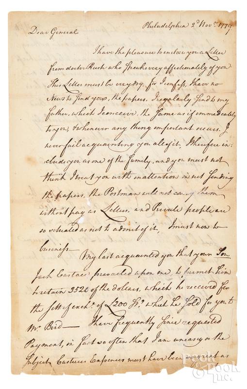 Joseph Nourse handwritten letter