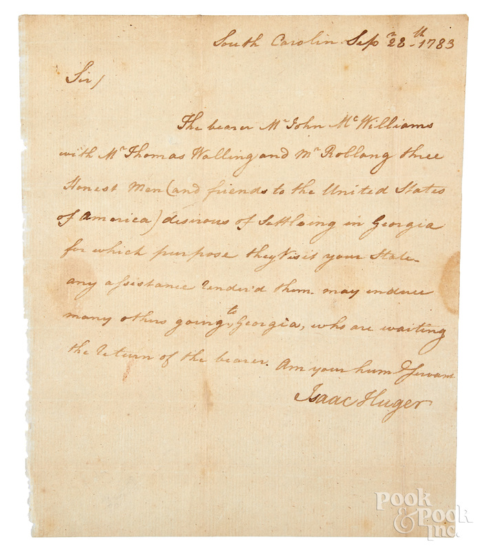 Revolutionary War signed letter from Isaac Huger