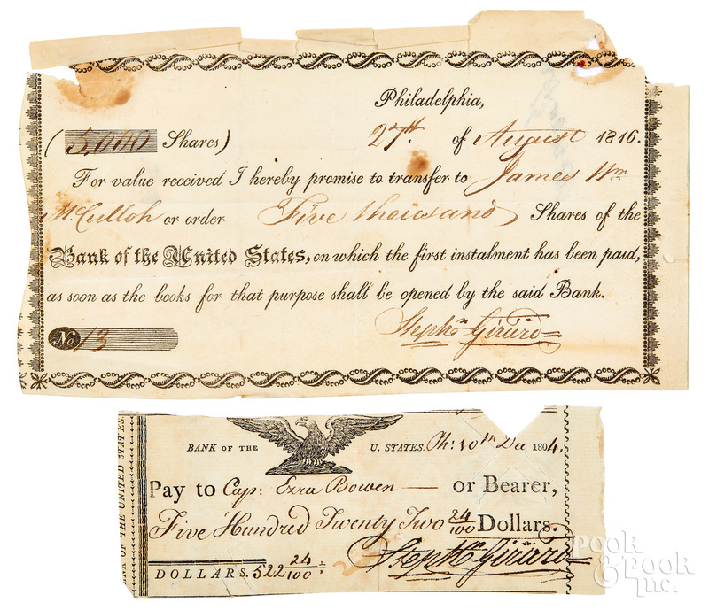 Two Stephen Girard signed documents