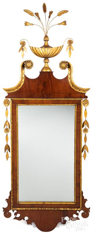 Federal mahogany and giltwood mirror, ca. 1800