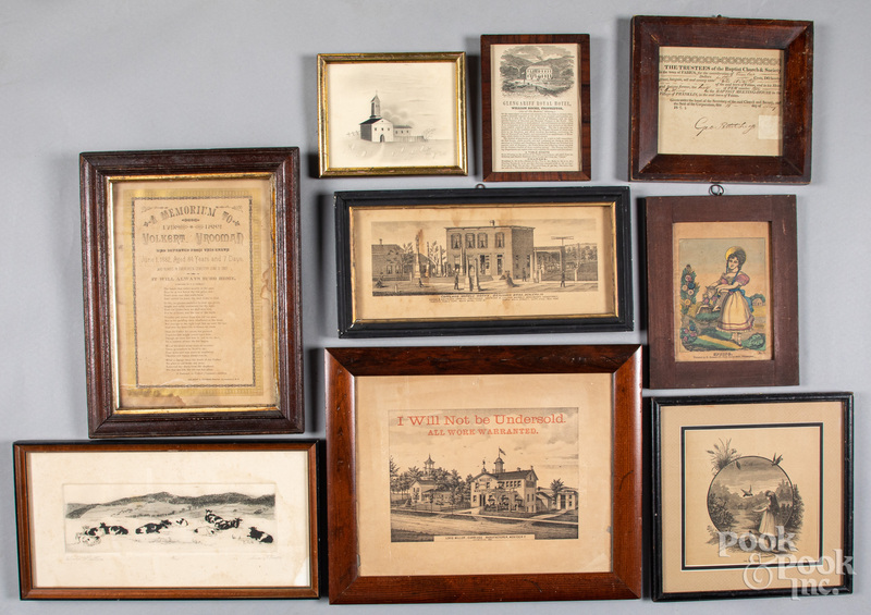 Nine early printed works and drawings.