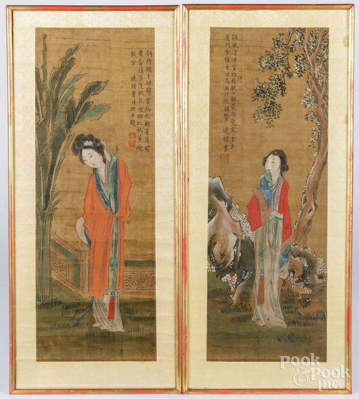 Pair of Japanese painted scrolls, etc.