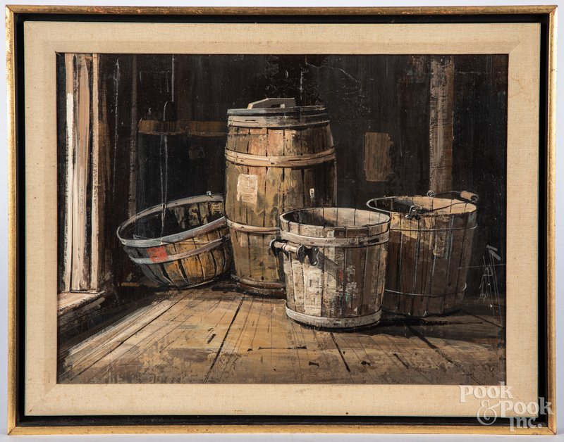 Oil on board, titled Shed Doorway