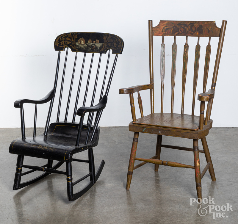 Painted arrowback necessary chair and a rocker
